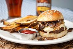 Mushroom, Onion & Swiss Burger. Delicious!!!! Sometimes you just gotta have a really great burger and this is IT!!