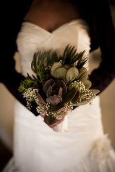 Succulents with baby's breath bouquet Bridesmaid Bouquet, Wedding Bouquets, Wedding Flowers, Succulent Bouquet, Intimate Weddings, Dream Wedding, Fall Wedding, Wedding Shrug, Just In Case