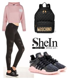 """""""SHEIN Leggings"""" by tania-alves ❤ liked on Polyvore featuring New Look, adidas Originals and Moschino"""