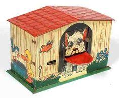 Piggy bank .... hi, hi, darin habe ich auch gespart :D ... wenn man das kleine Hebelchen links drückte, verschwand der Taler in der Hütte ;)