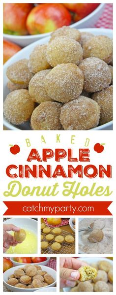 Baked apple cinnamon donut holes recipe. These are perfect for fall and healthier than fried donuts. | CatchMyParty.com #donutrecipe #falldessert #donutholes #cinnamonsugar