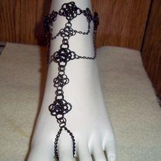Black Celtic Rose Chainmail Barefoot Sandal Slave Anklet Goth Punk EMO SCA Renn | eBay