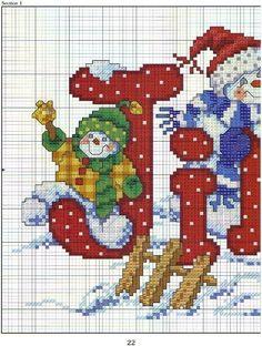 Punto de cruz Navidad, papa Noel, hombre de nieve, árbol de navidad                          árbol de navidad punto de cruz con corazones ...