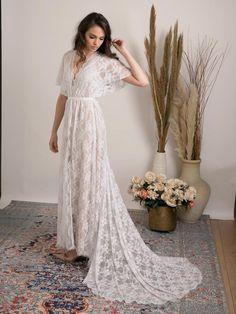 Bohemian lace wedding dress. Comfortable and glamorous boho | Etsy Floaty Wedding Dress, White Wedding Dresses, Long White Lace Dress, Bohemian White Dress, Bohemian Lace Wedding Dress, Cold Shoulder Wedding Dress, Indie Wedding Dress, Wedding Gowns, Wedding Lace