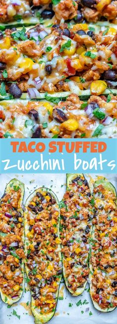 Taco Stuffed Zucchini Boats for Light and Satisfying Clean Eats! - Taco Stuffed Zucchini Boats for Light and Satisfying Clean Eats! Vegetarian Zucchini Boats, Zucchini Boat Recipes, Veggie Recipes, Mexican Food Recipes, Beef Recipes, Dinner Recipes, Cooking Recipes, Healthy Recipes, Zucchini Lasagna