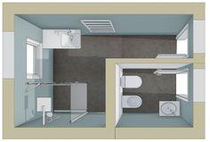 Badplanung mit Duschraum und separatem WC