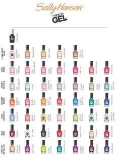 Sally Hansen Miracle Gel Shade Chart. I want to try some of these polishes!!