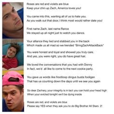 Zack attack Zach Rance poem Big Brother Tv Show, Keep Your Chin Up, Different Words, Stay Up, First Names, Movie Tv, Poems, Tv Shows, Love You