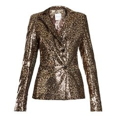 Halpern Sequin-embellished notch-lapel blazer ($3,380) ❤ liked on Polyvore featuring outerwear, jackets, blazers, animals, gold sequin blazer, slim fit blazer, blazer jacket, slim fit double breasted blazer and sequined blazer