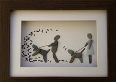 SOLD Autumn Dogwalkers. Pebble Art Sea Glass by CornishPebbleArt