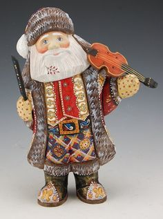 Russian Carved and Hand Painted Decorative Santa and Violin