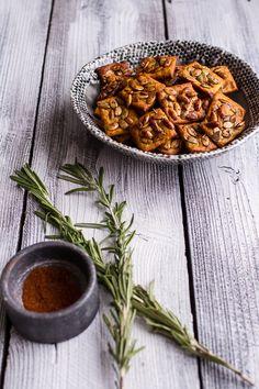 Sweet and Spicy Rosemary Cheddar + Gorgonzola Pumpkin Crackers | halfbakedharvest.com @hbharvest