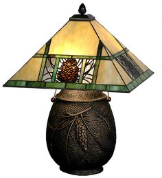 This charming nature inspired lamp features a Pine cone Mission designed shade with Bark Brown granite glass Pine cones on a Clear granite glass background with pine needle detailing. Bone Beige stained glass is geometrically divided by Moss Green bands on the shade. | eBay!