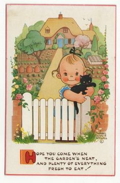 Mabel Lucie Attwell postcard Valentine's | eBay  (girl with black cat at fence)
