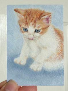 ACEO Miniature Original Painting Art Card - Kitten-Cat-Ginger Joanne P