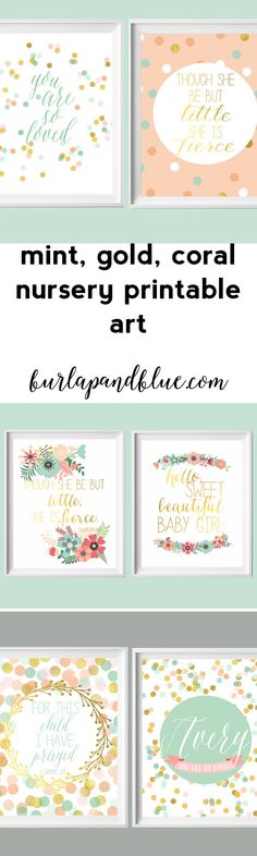 mint, coral, gold nursery wall art printables--girl nursery printables / baby shower decor