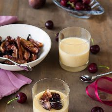 White chocolate pots de creme with honey roasted figs & cherries Recipe