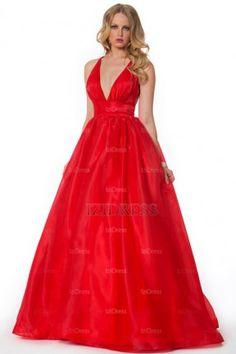 Ball Gown V-neck Straps Taffeta Floor-length Prom Dress - IZIDRESSES.com at IZIDRESSES.com