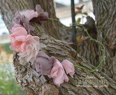 Primavera! Spring! Corona de flores pelo Tonos rosa, beige y salmón