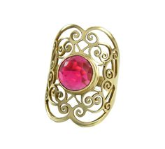 Gold ring 18k gold plated lace ring Gemstone brown by DINARjewelry, $139.00