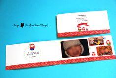 Faire-part d'adoption sur-mesure sur le thème de la russie Couleurs : rouge, vert bleu www.lafilleaunoeudrouge.fr