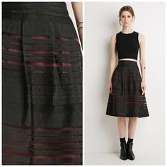 """Ornate Organza-Striped Skirt Never worn; just washed. A forever 21 contemporary skirt. Colors are black and wine. Does have a small pull as seen in the photos. Also, does have some excess threading on the inside. Alternating stripes of ornate patterned fabric and sheer organza. Pleated waist. A-line shape. Concealed side zipper. Skirt is fully lined. 100% polyester. Waist is approx 30"""" and length is approx 27"""". ❌NO TRADES❌ Forever 21 Skirts Midi"""