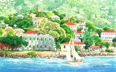 Underway by Anne Miller, x watercolour print Watercolor Print, Watercolours, Caribbean, Boats, Sea, Painting, Ships, Painting Art, The Ocean