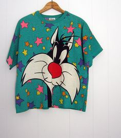 Rare Vintage Looney tunes Sylvester Cat Boxy 90s T Shirt Rainbow Stars Green S M