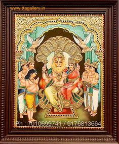 Tanjore Painting using 22 carat original gold foil and embossing, semi precious stone and chettinad teak wood frame. Krishna, Balaji, Durga and more. Online Art Store, Ram Wallpaper, Temple Design For Home, Elephants Photos, Lord Vishnu Wallpapers, Tanjore Painting, Lord Krishna Images, Krishna Art, Hindu Art
