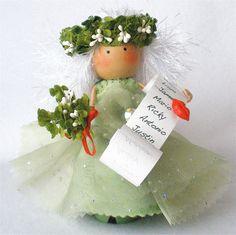Clothespin Art Doll Mistletoe and Kisses Christmas Doll Pale Green. $40.00, via Etsy.