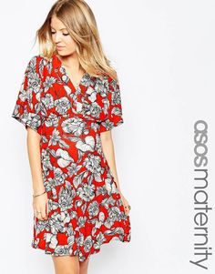 ASOS+Maternity+Kimono+Sleeve+Floral+Skater+Dress