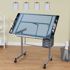 Hobby Station Artist Drafting Table Glass Art Drawing Desk Adjustable Architect