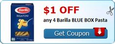New Coupon!  $1.00 off any 4 Barilla BLUE BOX Pasta - http://www.stacyssavings.com/new-coupon-1-00-off-any-4-barilla-blue-box-pasta/