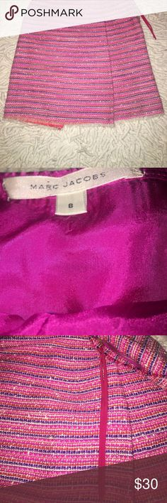 Marc Jacobs Woven Skirt This listing is for one size 8 pink, purple, orange, and white skirt. It is about knee length (depending on height) and has white fringe at along the bottom as well as the cutest pink ribbon detail on the zipper! It is in excellent used condition with very minimal signs of wear. All reasonable offer will be considered! Marc Jacobs Skirts