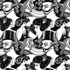 """M.C. Escher ~ """"Eight Heads"""", 1922"""