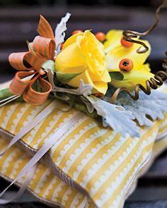 Ring PillowsYellow-and-Orange BoutonniereYellow-and-White Wedding Cake