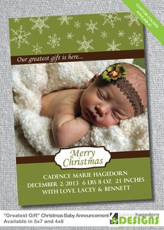 Christmas Card  Baby Announcement   FREE by LukensHagedornDesign