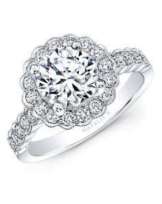 Angara Scalloped-Edge Diamond Floral Halo Engagement Ring tt0hlMkz