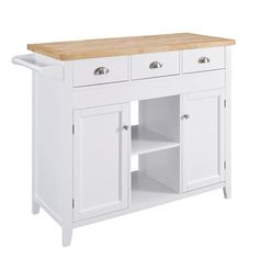 Linon Home Decor 75 in. W Sheridan Kitchen Cart with Towel Bar-K464905WHTABU - The Home Depot