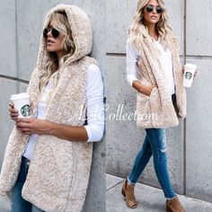 Faux Fur sherpa Vest Sleeveless coat jacket trendy super soft and comfy sherpa hooded vest. have pockets. fully lined. beige or gray to choose from. Boutique Jackets & Coats Vests #Vests