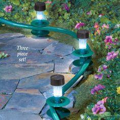 Water Hose Guides with Solar Powered Lights Lanterns Garden Decor (Set of 3)  #SolarPowered #WaterHose #Guides #Solar #Powered #Lights #Lanterns #OutdoorLiving #Landscape #WalkwayLights #Home #Kitchen #Yard #Garden #Setof3