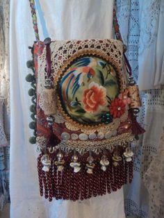 Handmade Cross Body Silk Bag Fringe Lace Embroidery Boho Hobo Gypsy Purse tmyers #Handmade #MessengerCrossBody