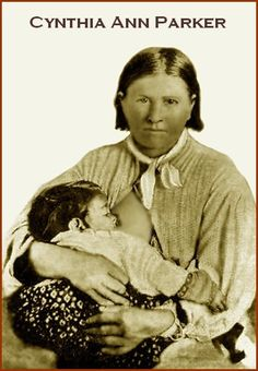 "Cynthia Ann Parker was kidnapped at age nine by Comanche's who massacred her family. She lived with them for 24 years, forgetting her white ways. She married Chief Peta Nocona and had 3 children including Quanah Parker. Rescued at age 34 by Texas rangers but for 10 yrs refused to adjust to white ways. She escaped once only to be ""rescued"" again. Heartbroken over the loss of her husband and children she stopped eating and died of influenza in 1870."