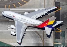 """Asiana colours do look very attractive on the A380 seen here lining up on 24 Left as """"Asiana 201 Super"""" LAX-ICN."""