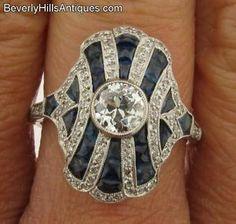 Beautiful Art Deco Design Platinum Diamonds Sapphires Ring