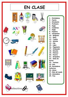 Classroom objects and school supplies - ESL worksheet by Spanish Teacher, Spanish Classroom, Teaching Spanish, Teaching English, Spanish Worksheets, Spanish Vocabulary, Vocabulary Worksheets, Printable Worksheets, Spanish Lessons