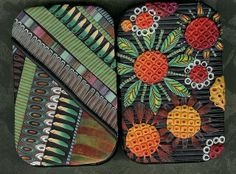 Two Tins covered with polymer clay slices and textures. I really do love the colors here. by MaryAnne Loveless.