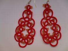 Boucles d'oreilles frivolité , Carmentatting, Boucles d'oreilles dentelle ivoire avec perles , bijoux dentelle frivolite , bijoux faite