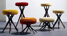 Waterweavers show at the Bard Graduate Center -- Corocora stools by Ceci Arango.  Woven by women of Guacamayas community in Colombia with threads of figue.