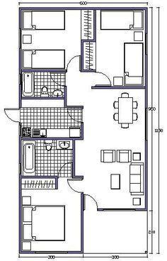 plano de casa de 63m2 Más #casaspequeñasplanos